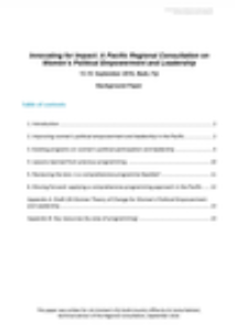 UN Women Background Paper : Pacific Regional Consultation on Women's Political Empowerment and Leadership