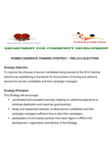 Papua New Guinea – Women Candidates Training Strategy – 2012 National Elections