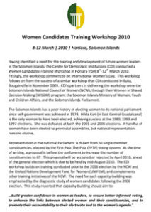 Report: Solomon Islands Women Candidates Training Workshop 2010
