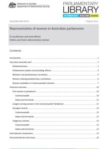 Representation of Women in Australian Parliaments