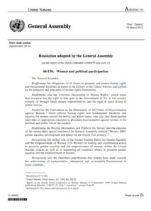 UN General Assembly Resolution on Women's Political Participation (2011)