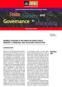 Women Leaders in Solomon Islands Public Service: A Personal and Scholarly Reflection